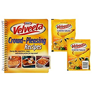 Kraft Velveeta Original Cheese Sauce – 2 Pouches - 4 Oz. Per Pouch with Velveeta Crowd-Pleasing Recipes, Hearty Dips, Appetizers, Soups & Entrees Spiral Cookbook with 47 Recipes