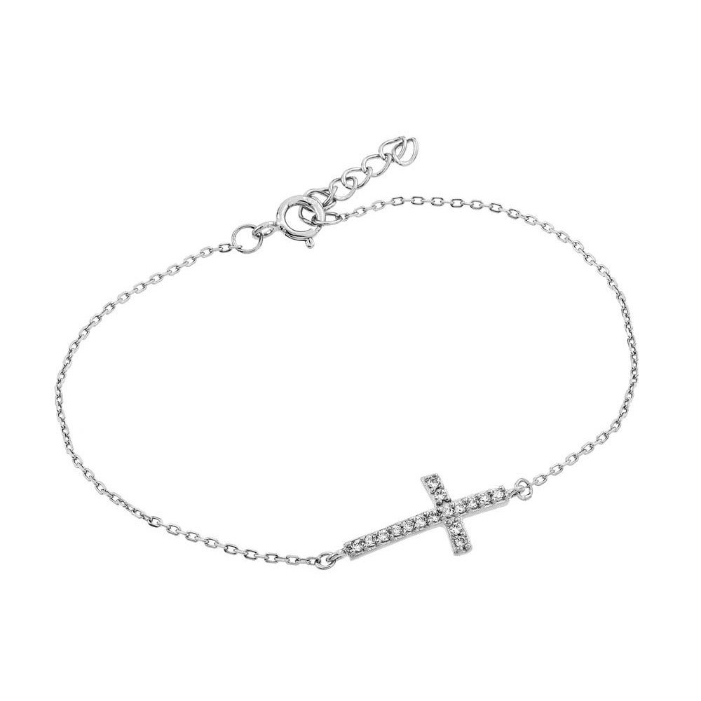Clear Prong Set Cubic Zirconia Small Sideways Cross Bracelet Rhodium Plated Sterling Silver