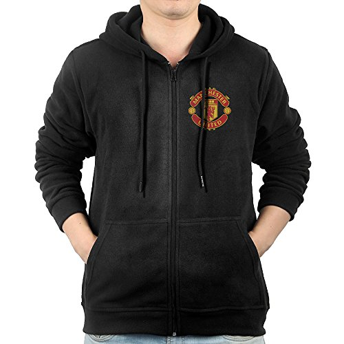 Manchester United Fc Hoody (Adtyjguh Men's Full Zip Manchester United FC Crest. Hoodie With Pouch Pocket Small)