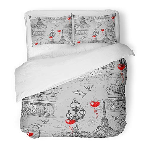 Emvency Decor Duvet Cover Set Full/Queen Size Paris in Retro The Embankment River Seine Lanterns and Doves on of Letters Bird City 3 Piece Brushed Microfiber Fabric Print Bedding Set Cover -
