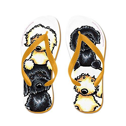 Cafepress Black Yellow Labradoodles Dog Pile - Chanclas, Sandalias Thong Divertidas, Sandalias De Playa Naranja