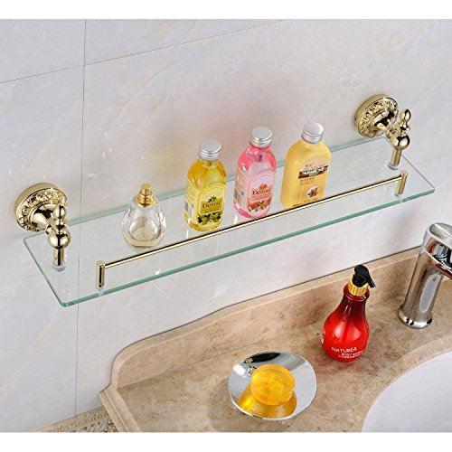 Leyden Fashion Home Leyden Bathroom Bath Shower Ti-pvd Finish Solid Brass Material Glass Shelf Lavatory Accessories price tips cheap