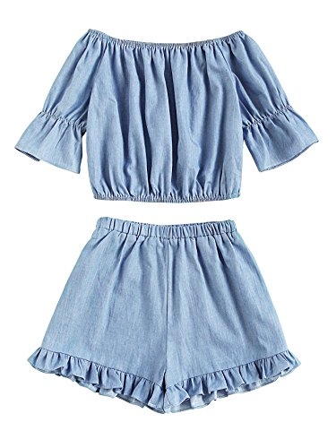 SheIn Women's Sweet Off Shoulder Short Sleeve Crop Top 2 Piece Outfits Light Blue Large (2 Piece Cute Set)
