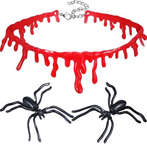 Jovitec 4 Pieces Halloween Black Spider Ear Stud