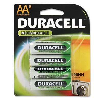 Duracell Rechargeable AA NiMH Batteries, MIGNON/HR6/DC1500, 2450mAh, 8-Count Package Duracell Nickel Camera Battery