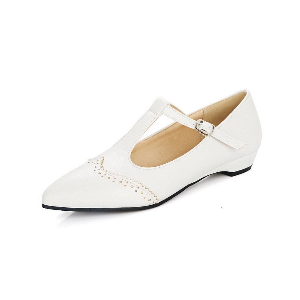 BalaMasa Womens Buckle Hollow Out Pointed-Toe White Urethane Mary-Jane-Flats - 6 B(M) US