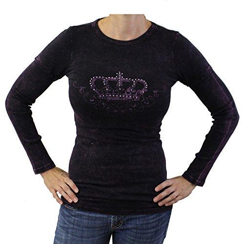 Small Purple Women's Shirt Long Sleeve T-Shirt Top Crown Wings Rhinestone Tattoo Art
