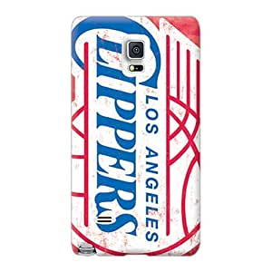 Shock-Absorbing Hard Phone Cases For Samsung Galaxy Note 4 With Allow Personal Design Realistic Los Angeles Clippers Pictures WayneSnook