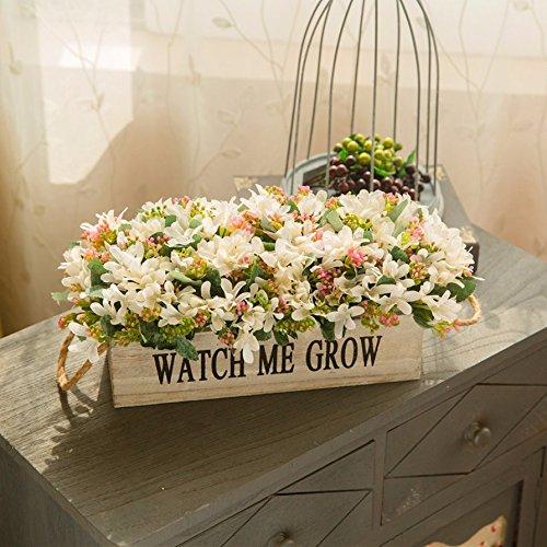 リビングルームのバルコニーTeaホームBouquetsセットエミュレーション花ポット木製フェンスSwinging Piece偽の花は花、7 B0793PTSC6
