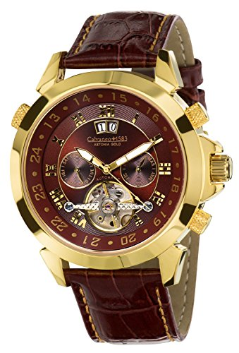 Calvaneo 1583 Astonia Luxury Cognac GOLD Automatikuhr Kalenderkomplikation