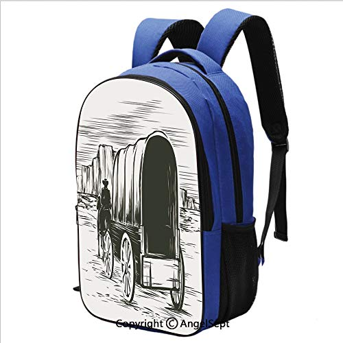 16.5 inch Laptop Backpack Old Traditional Wagon Wild West Prairies Pioneer on Horse Transportation Cart for School and Travel,Black and White