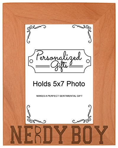 Nerd Gift Nerdy Boy Glasses Science Math Geek Natural Wood Engraved 5x7 Portrait Picture Frame - Nerdy Of Glasses Pictures