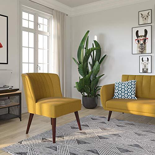 Novogratz Brittany Upholstered Accent, Mustard Yellow Linen Chair (Accent Chair Yellow)