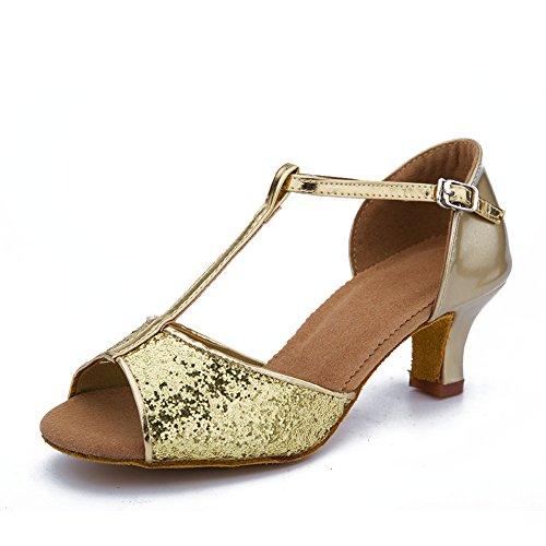Zapatillas Roymall De Mujer De Satén Dorado De Baile Latino Zapatos De Salón De Salón De Baile De Tango, Modelo Wzjcl-5,7 B (m) Us
