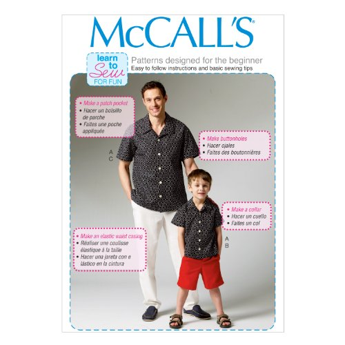"""McCall Pattern Company M6972 Men's/Boys' Shirt, Shorts and Pants, Size ADT """"SML-MED-LRG-XLG"""" from McCall Pattern Company"""