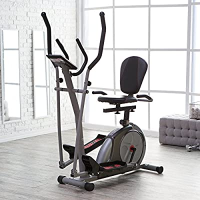 Top Rated Best Selling Affordable Total Body Workout Dual Elliptical Exercise Trainer Bike System- 3 in 1 Recumbent Upright Bike Portable Versatile Lightweight Steel Frame Electronic Monitoring System