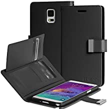 Vena® Samsung Galaxy Note 4 Wallet [vDiary] Chic Slim Tri-Fold Flip Cover PU Leather Wallet Case [Card Pockets & Stand] for Galaxy Note 4 Smartphone (Black)