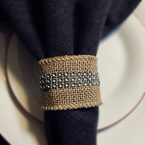 (8pc Set of Burlap Napkin Ring with Bling)