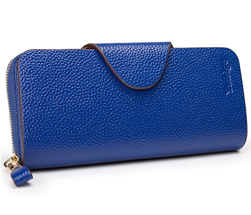 Yafeige Large Luxury Women's RFID Blocking Tri-fold Leather Wallet Zipper Ladies Clutch Purse(2-pebbled Royal Blue)