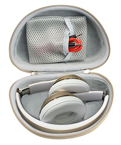 Gold Headphone Case for Beats Solo3 Wireless On-Ear Headphones, and Also for Solo2 Wired and Solo HD Wired, Best Matching in Shape and Color, Detachable Wrist Strap (Frosted Gold)