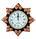 Nagina International Hand Crafted Decorative Wall Decor Clock Mirror & Windows | Colorful Vintage Designs (14'' Clock, Faded Orange)