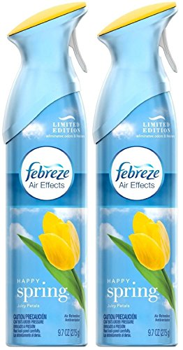 Febreze Air Effects Air Freshener Spray - Limited Edition Happy Spring - Juicy Petals - Net Wt. 9.7 OZ (275 g) Per Can - Pack of