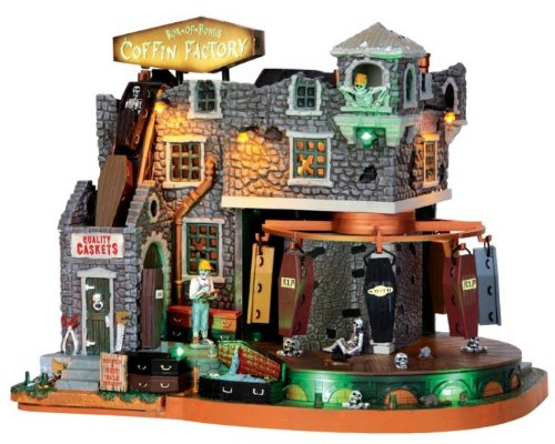 Lemax Spooky Town Box-Of-Bones Coffin Factory with Adaptor # 45669 ()