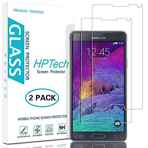 HPTech Galaxy Note 4 Screen Protector - (2-Pack) for Samsung Galaxy Note 4 Tempered Glass Screen Protector Bubble Free 9H Hardness with Lifetime Replacement Warranty