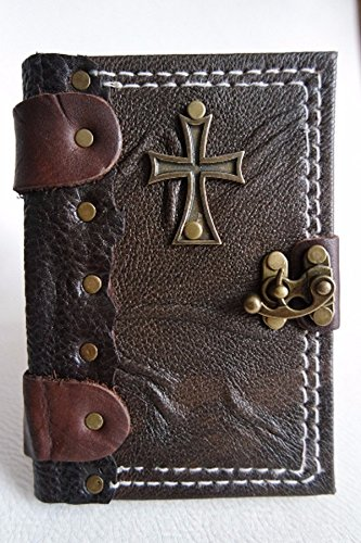 Handmade leather journal leather notebook leather diary small size leather sketchbook with Cross emblem