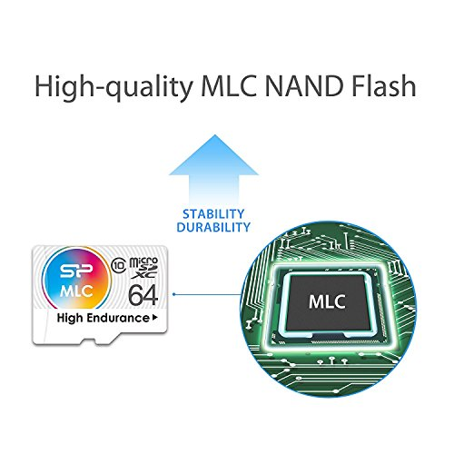 Silicon Power 64GB High Endurance MLC MicroSDXC Memory Card for Dash Cam and Security Camera, with Adapter (SP064GBSTXIU3V10SP) by Silicon Power (Image #3)