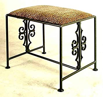 Gothic Inspired Wrought Iron Bench w Upholstered Cushion (Taupe)