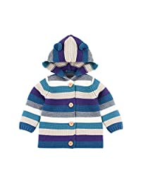 Fairy Baby Baby Boy Girl Knit Cardigan Sweater Jacket Cartoon Hood Outfit Rainbow Coat size 6-9M (Denim blue)