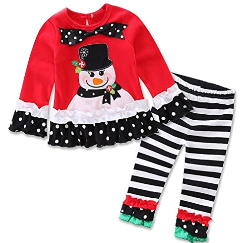 [Baby Girls 2 Pieces Christmas Santa Long Sleeve Shirt Pants Outfit Set  Black 2T/3T] (Christmas Outfit)