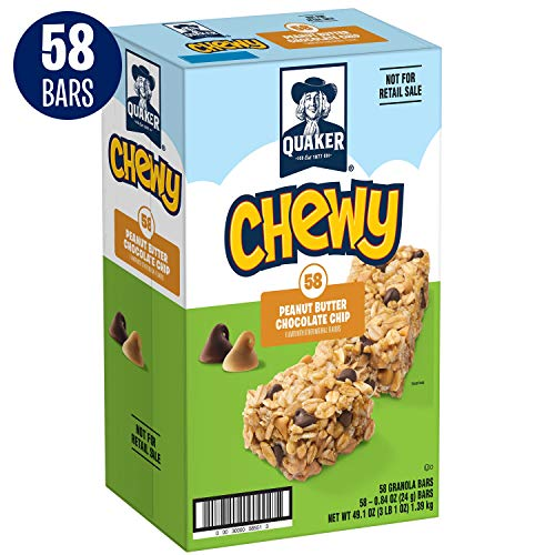 Quaker Chewy Granola Bars, Peanut Butter Chocolate Chip, 58 Bars (Best Chocolate Peanut Butter Bars)