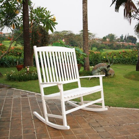 (Outdoor Double Rocking Chair, White, Seats 2, Durably Constructed of Solid Hardwood, Comfortable Wide Seat and Backrest Slats, Weather Treated for Long-Lasting Outdoor Use, Assembly)