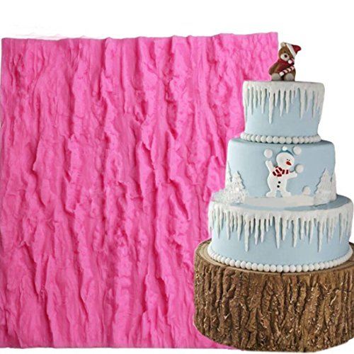Fondant Impression Mat, KOOTIPS Tree Bark texture Design Silicone Cake Decorating Supplies for Cupcake Wedding Cake Decoration (Tree Bark mat) (Lace Tree)