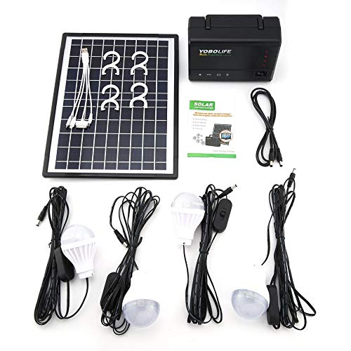 Solar Panel Power Storage Generator with LED Light Bulb USB Charger Portable Handheld Generator Power Box Home System Kit by Gessence (Image #7)