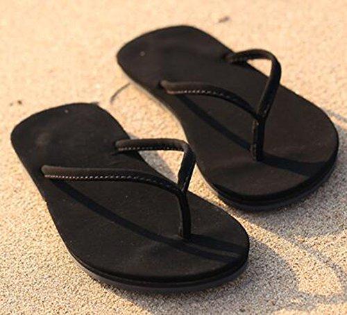 Summerwhisper Damessprint Casual Duurzame String Sandalen Antislip Platte Flip-flops Zwart