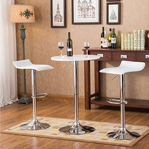 baxton 3piece white adjustable height wood and chrome metal bar set