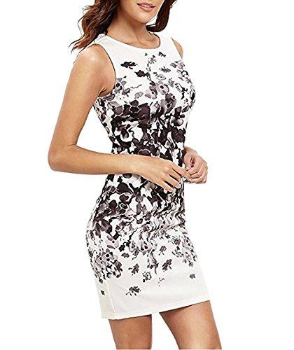Minetom Mujer Verano Ajustado Lápiz Del Wiggle Vestido Estampado Floral Sin Mangas del Bodycon Dress de Fiesta Blanco