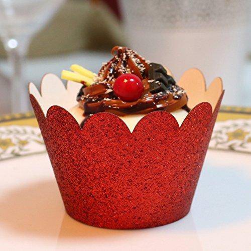 Red Filigree Favor Boxes - PONATIA 50 PCS Vine Cupcake Holders Filigree Vine Designed Decor Wrapper Wraps Cupcake Muffin Paper Holders (Red Glitter)