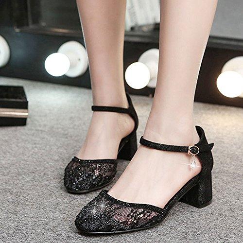 de pedrería de Color las HY Tamaño cuadrados Negro sandalias con mujeres negros 37 los Baotou Ms tacones Summer Negro qqXI1