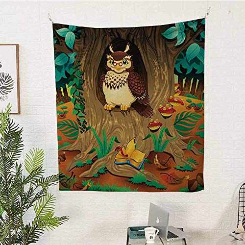 sunsunshine Owl Rectangular Tapestry Old-Wise-Nanny-Grandma-Owl-in-The-Chestnut-Tree-Hallow-Looking-Through-Sage-Character-Print Tapestry Throwing Blanket 57W x 74L INCHMulti