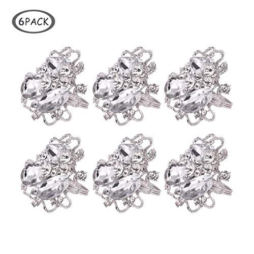 QTKJ Set of 6 Metal Napkin Rings Big Crystal Diamonds Silver Flower Napkin Buckle for Home, Holidays, Wedding, Parties, Dinners Decor (Silver,2) ()