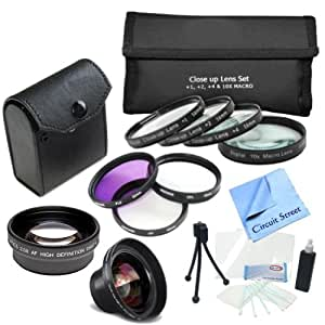 Complete 52mm Lens Kit For The Nikon D40, D40X, D50, D60, D3000, D5000 Digital SLR Cameras: Includes: 4 Piece Macro Lens Kit, 3 Piece Filter Kit, 0.45x Wide Angle Lens, 2x Telephoto Lens, Cleaning Kit and more...