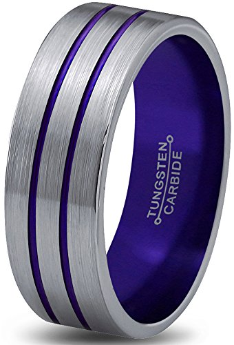 Black Line Double Tungsten (Chroma Color Collection Tungsten Wedding Band Ring 6mm for Men Women Purple Grey Flat Double Line Pipe Cut Brushed Polished Size 12.5)