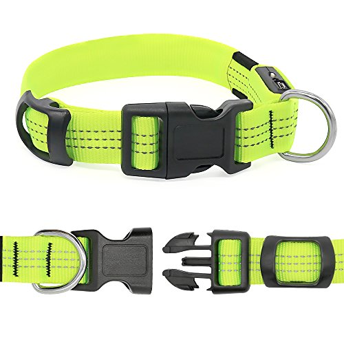 Picture of BSEEN LED Dog Collar Nylon Webbing USB Rechargeable with 3 Reflective Strings Glowing Pet Safety Collars with Adjustable Buckle & D-Ring for Small Medium Large Dogs (Large, Neon Green)