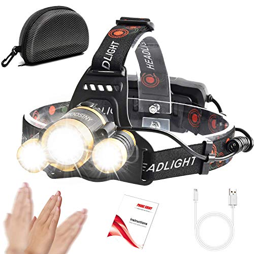 Motion Sensor Headlamp, Boosiny Brightest High 6000 Lumen LED T6 Work Headlight, 18650 USB Rechargeable Waterproof Headlight with Zoomable Flashlight, Head Lights for Camping, Hiking, Outdoors