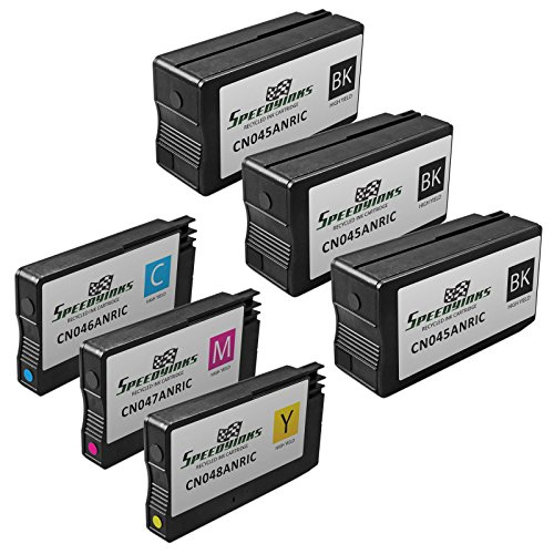 SpeedyInks 6PK Remanufactured Replacement for HP 950 951 CN049N - CN050AN - CN051AN - CN052AN HY Ink Cartridge Set: 3 Black 1ea CMY for use in OfficeJet 251dw 276dw 8100 8600 8610 8620 8630