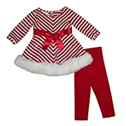 Bonnie Jean Girls Red Sequins Christmas Santa Dress Legging Outfit, 3-6M